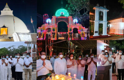 Swadeshi Khomba illuminates Kiri Vehera & Ruhunu Maha Kataragama Devalaya at Kataragama for the 20th consecutive year.